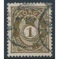 NORWAY - 1891 1øre deep olive-brown Posthorn, used – Facit # 48