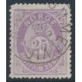 NORWAY - 1877 25øre dull violet Posthorn (shaded), used – Facit # 30