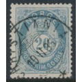 NORWAY - 1883 20øre pale ultramarine Posthorn (unshaded, picture height = 21mm), used – Facit # 44Aab