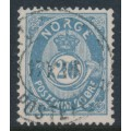 NORWAY - 1883 20øre dull blue Posthorn (unshaded, picture height = 21mm), used – Facit # 44Ba