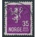 NORWAY - 1934 35øre purple Lion Coat of Arms, used – Facit # 143