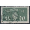 NORWAY - 1933 40øre grey Large Official, used – Facit # TJ17