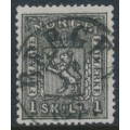 NORWAY - 1868 1Sk black Coat of Arms, used – Facit # 11b