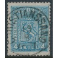 NORWAY - 1868 4Skilling blue Coat of Arms on thin paper, used – Facit # 14b