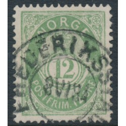 NORWAY - 1884 12øre dull green Posthorn (unshaded, picture height = 21mm), used – Facit # 41