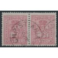 NORWAY - 1867 8 Skilling pale carmine-rose Coat of Arms, horizontal pair, used – Facit # 15a