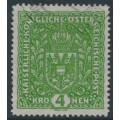 AUSTRIA - 1916 4Kr dark yellowish green Coat of Arms on plain paper, used – Michel # 206II