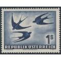 AUSTRIA - 1953 1S lilac-ultramarine Bird airmail, MNH – Michel # 984