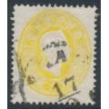 AUSTRIA - 1860 2Kr yellow Emperor Franz Josef, perf. 14, used – Michel # 18