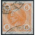AUSTRIA - 1901 6H orange Mercury Newspaper stamp with varnish stripes, used – Michel # 102