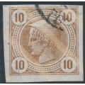AUSTRIA - 1901 10H yellow-brown Mercury Newspaper stamp with varnish stripes, used – Michel # 103