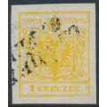 AUSTRIA - 1850 1Kr cadmium yellow Coat of Arms on hand-made paper, used – Michel # 1Xd