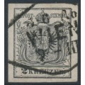 AUSTRIA - 1854 2Kr black Coat of Arms on machine-made paper, used – Michel # 2Ya