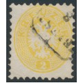 AUSTRIA - 1863 2Kr yellow Double-Headed Eagle, perf. 9½, used – Michel # 30