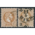 AUSTRIA - 1867 15Kr brown Emperor Franz Josef, perf. 9½, types I & II, used – Michel # 39Ia+39IIa