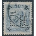 AUSTRIA - 1901 50Kr blue/black Emperor Franz Josef, perf. 13:13½, private perfin., used – Michel # 95B