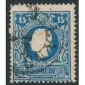 AUSTRIA - 1859 15So blue Emperor, Lombardy-Venice, used – Michel # 11II
