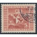 LIECHTENSTEIN - 1947 5Fr brown-red on pale yellow Vaduz Castle, used – Michel # 252