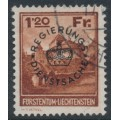 LIECHTENSTEIN - 1933 1.20Fr deep brown-orange Vaduz Castle official, used – Michel # D10