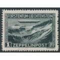 LIECHTENSTEIN - 1931 1Fr greenish black Graf Zeppelin, used – Michel # 114