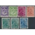 LIECHTENSTEIN - 1917-1918 3H to 25H Coat of Arms & Prince Johann II set of 7, used – Michel # 4-10