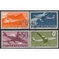LIECHTENSTEIN - 1960 30Rp to 75Rp Anniversary of Airmail Stamps set of 4, used – Michel # 391-394