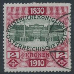 AUSTRIA - 1910 2Kr carmine-red/black-olive Emperor's Birthday, used – Michel # 175
