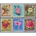 AUSTRALIA - 1968 6c to 30c State Floral Emblems set of 6, MNH – SG # 420-425