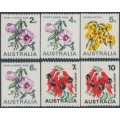 AUSTRALIA - 1970-1975 2c to 10c Flowers coils set of 6, MNH – SG # 465a-468d