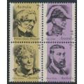 AUSTRALIA - 1973 7c Famous Australians in a block of 4, MNH – SG # 537a