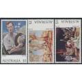 AUSTRALIA - 1974 $1, $2 & $4 Paintings set of 3, MNH – SG # 565-566b
