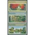 AUSTRALIA - 1989 $2, $5 & $10 Gardens set of 3 perf. 14, MNH – SG # 1199-1201