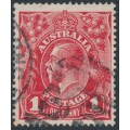 AUSTRALIA - 1914 1d carmine-red KGV Head (G10) – Victorian '33' numeral cancel (= Dandenong)
