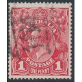 AUSTRALIA - 1914 1d carmine-red KGV Head (G10) – Victorian '164' numeral cancel (= Mount Pleasant)