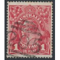 AUSTRALIA - 1914 1d carmine-red KGV Head (G10) – Victorian '205' numeral cancel (= Wahgunyah)
