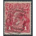 AUSTRALIA - 1914 1d carmine-red KGV Head (G10) – Victorian '327' numeral cancel (= Tarnagulla)