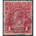 AUSTRALIA - 1915 1d scarlet-red KGV Head (G17) – Victorian '838' numeral cancel (= Lorne)
