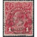 AUSTRALIA - 1915 1d scarlet-red KGV Head (G17) – Victorian '838' numeral cancel (= Lorne)