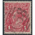 AUSTRALIA - 1914 1d carmine-red KGV Head (G10) – Victorian '1658' numeral cancel (= Barwon Downs)