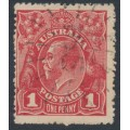 AUSTRALIA / NSW - 1915 1d dull red KGV Head (G16) – '165' numeral cancel (= Wallabadah)