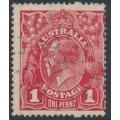 AUSTRALIA / NSW - 1914 1d carmine-red KGV Head (G10) – '221' numeral cancel (= Hunters Hill)