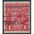 AUSTRALIA - 1918 1d deep red (die III) KGV Head (G110), inverted watermark, used – ACSC # 75Ba