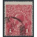 AUSTRALIA - 1918 1d deep carmine-red KGV Head (shade = G77), used – ACSC # 72R