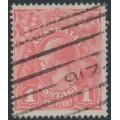 AUSTRALIA - 1917 1d salmon eosin KGV Head (shade = G27), used – ACSC # 71S