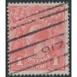 AUSTRALIA - 1917 1d salmon eosin KGV Head (shade = G27), used – ACSC # 71S