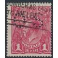 AUSTRALIA - 1918 1d damson KGV Head (shade = G70½), perf. OS, used – ACSC # 72Kbb