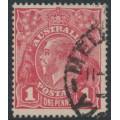 AUSTRALIA - 1915 1d reddish pink KGV Head (shade = G15), die II, used – ACSC # 71F(1)i