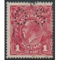 AUSTRALIA - 1918 1d red-rosine KGV Head (shade = G68), die II, perf. OS, used – ACSC # 72I(1)ib