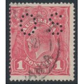 AUSTRALIA - 1918 1d rose-pink KGV Head (shade = G67), perforated OS, used – ACSC # 72Hbb