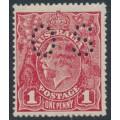 AUSTRALIA - 1918 1d carmine-red KGV Head (shade = G73), perforated OS, MNH – ACSC # 72Pbb